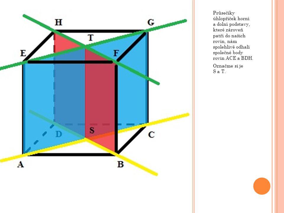 Průsečíky úhlopříček horní a dolní podstavy, které zároveň patří do našich rovin, nám spolehlivě odhalí společné body rovin ACE a BDH.