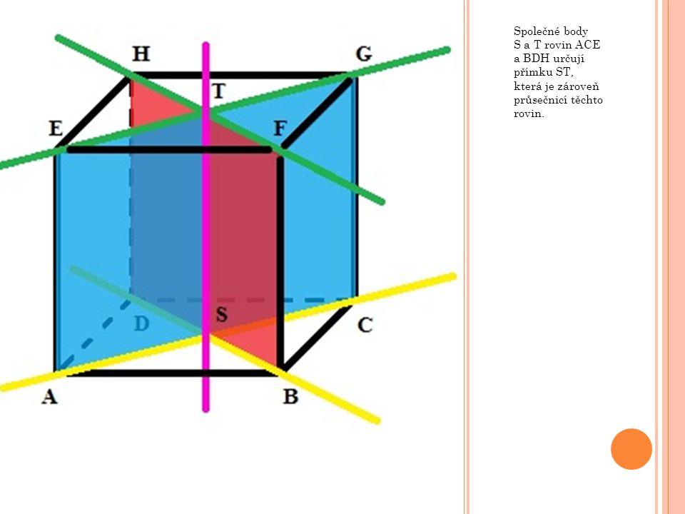 Společné body S a T rovin ACE a BDH určují přímku ST, která je zároveň průsečnicí těchto rovin.