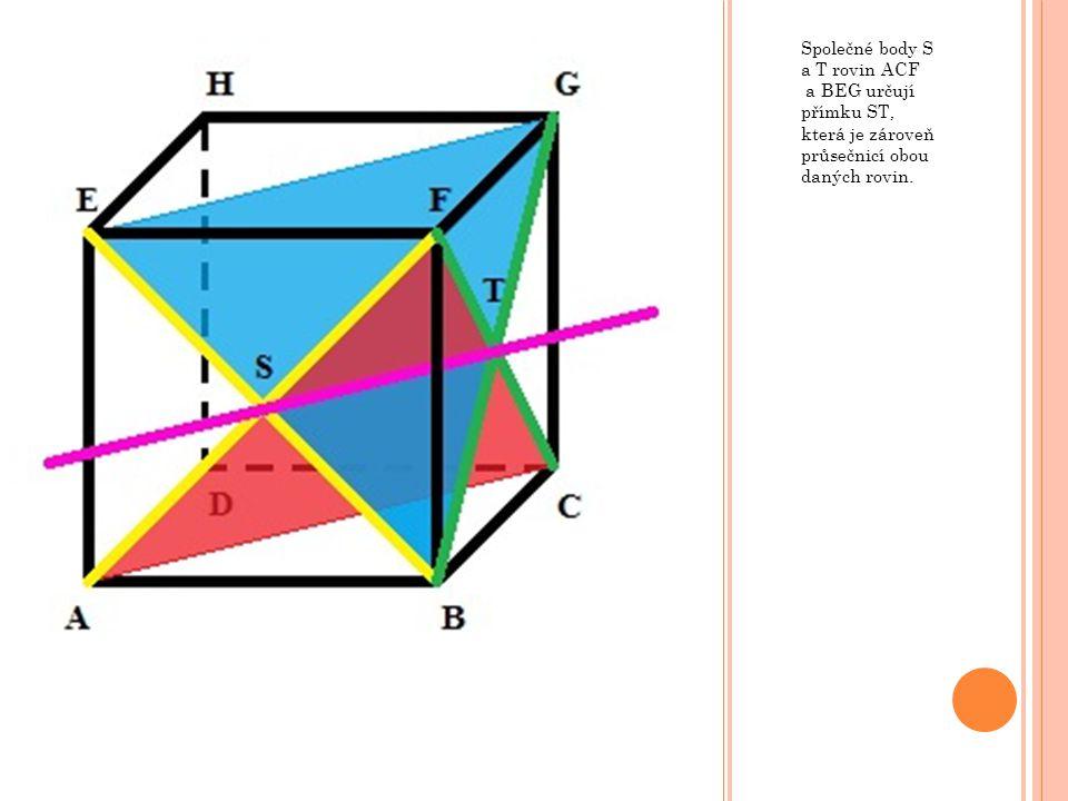 Společné body S a T rovin ACF a BEG určují přímku ST, která je zároveň průsečnicí obou daných rovin.