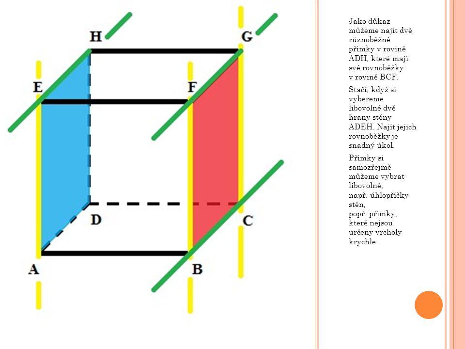 Jako důkaz můžeme najít dvě různoběžné přímky v rovině ADH, které mají své rovnoběžky v rovině BCF.
