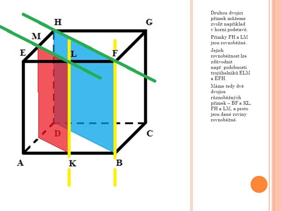 Druhou dvojici přímek můžeme zvolit například v horní podstavě.