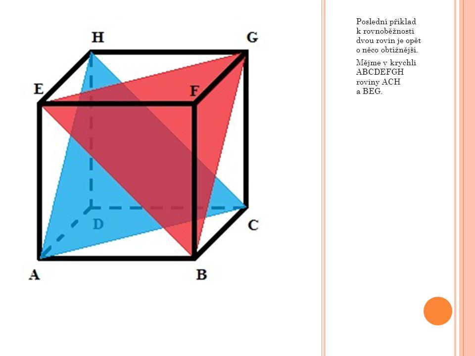 Poslední příklad k rovnoběžnosti dvou rovin je opět o něco obtížnější.