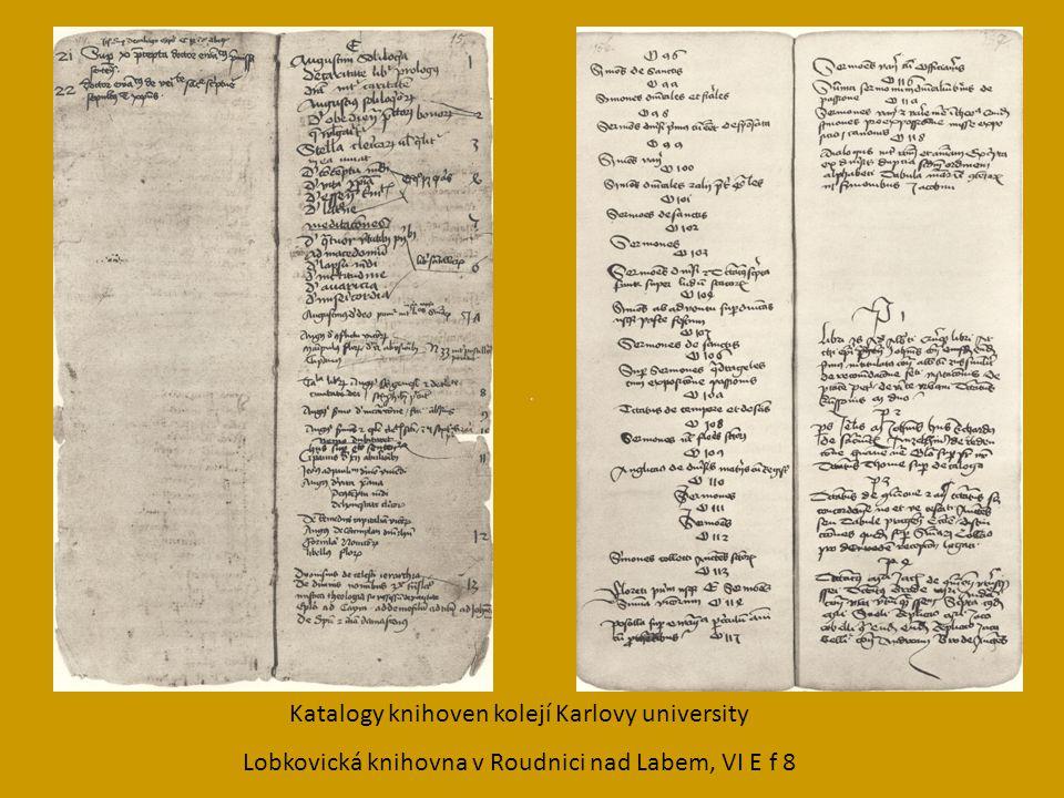 Katalogy knihoven kolejí Karlovy university