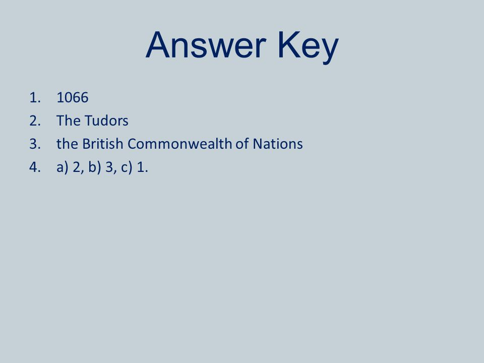 Answer Key 1066 The Tudors the British Commonwealth of Nations