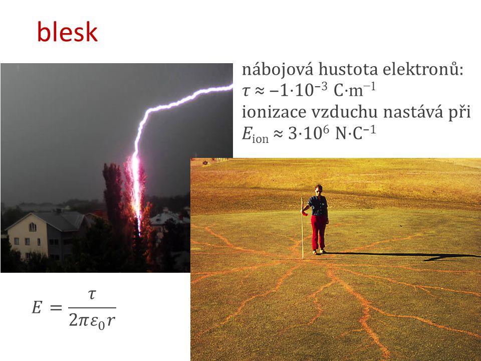 blesk nábojová hustota elektronů: τ ≈ ‒1⋅10−3 C⋅m−1