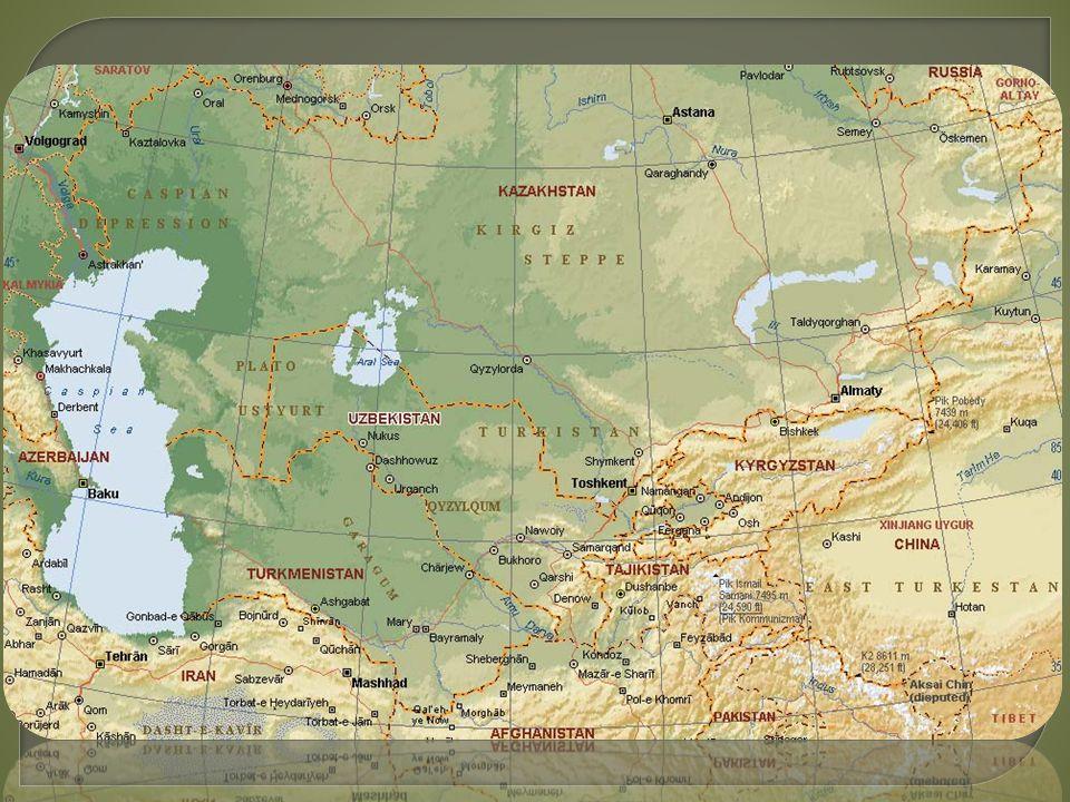 Střední Asie Kazachstán, Turkmenistán, Uzbekistán, Tádžikistán, Kyrgyzstán