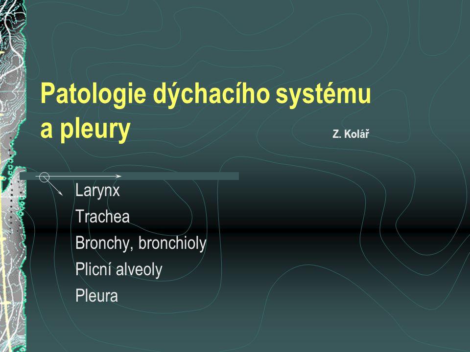 Patologie dýchacího systému a pleury Z. Kolář