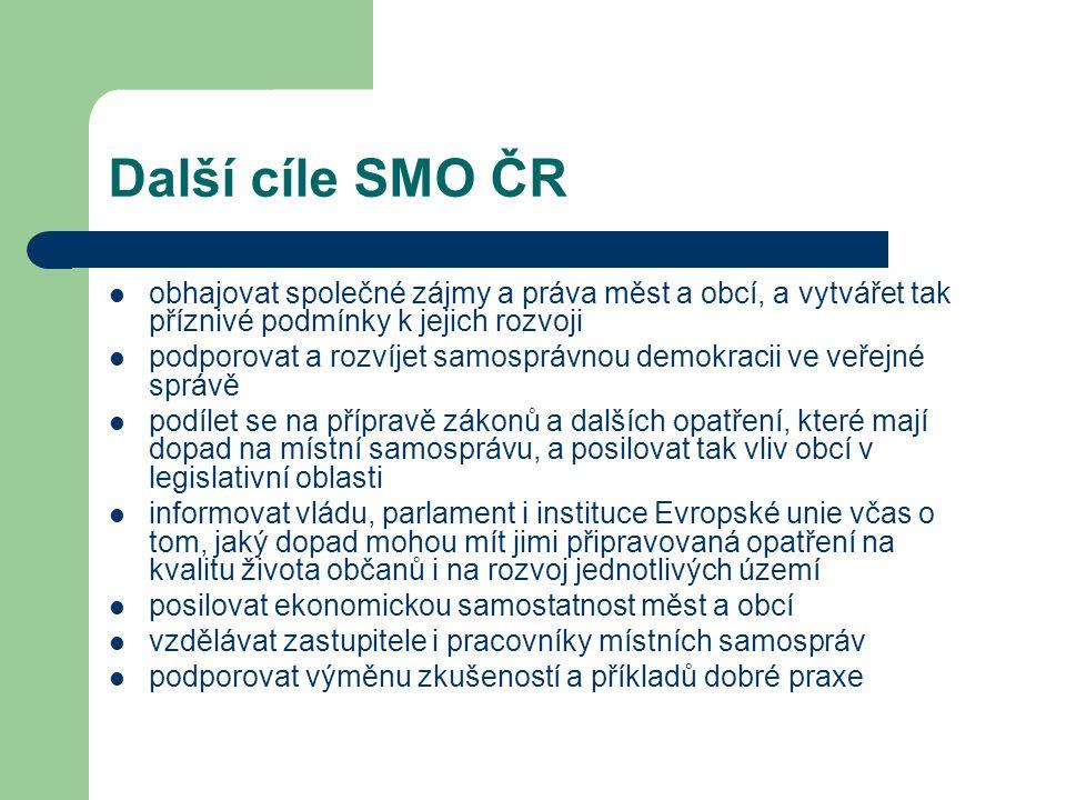 Další cíle SMO ČR obhajovat společné zájmy a práva měst a obcí, a vytvářet tak příznivé podmínky k jejich rozvoji.