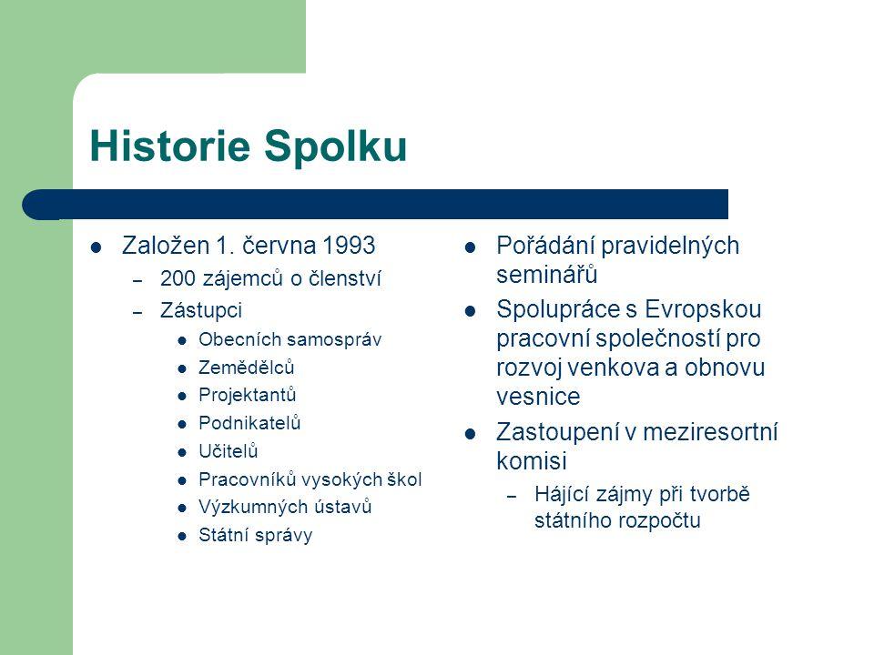 Historie Spolku Založen 1. června 1993 Pořádání pravidelných seminářů