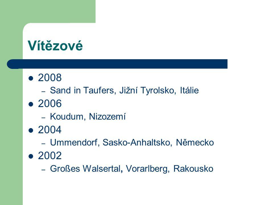 Vítězové 2008 2006 2004 2002 Sand in Taufers, Jižní Tyrolsko, Itálie