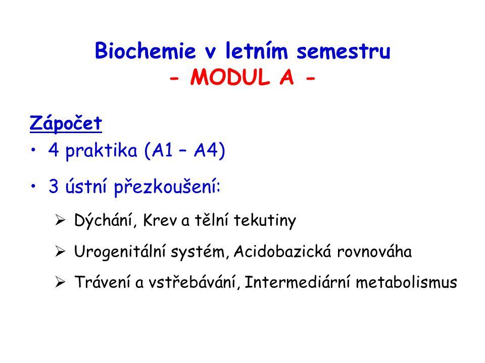 Biochemie v letním semestru - MODUL A -