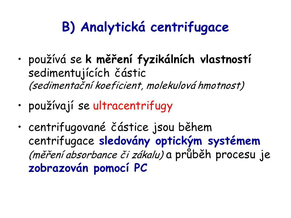 B) Analytická centrifugace