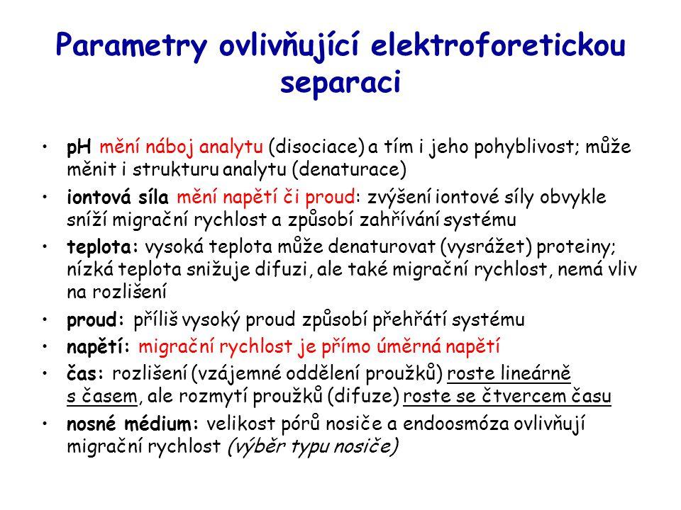 Parametry ovlivňující elektroforetickou separaci
