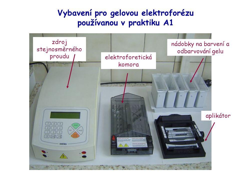 Vybavení pro gelovou elektroforézu používanou v praktiku A1