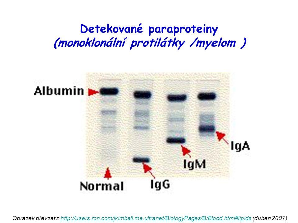 Detekované paraproteiny (monoklonální protilátky /myelom )
