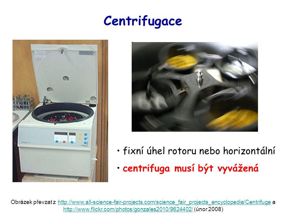 Centrifugace fixní úhel rotoru nebo horizontální