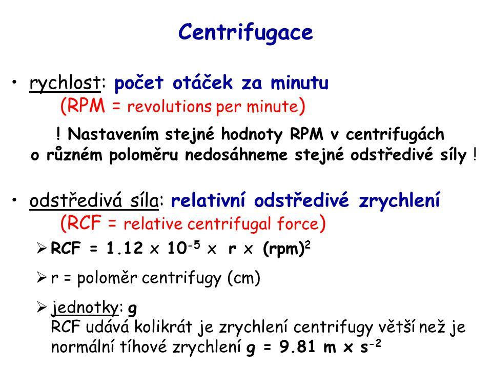 Centrifugace rychlost: počet otáček za minutu (RPM = revolutions per minute)