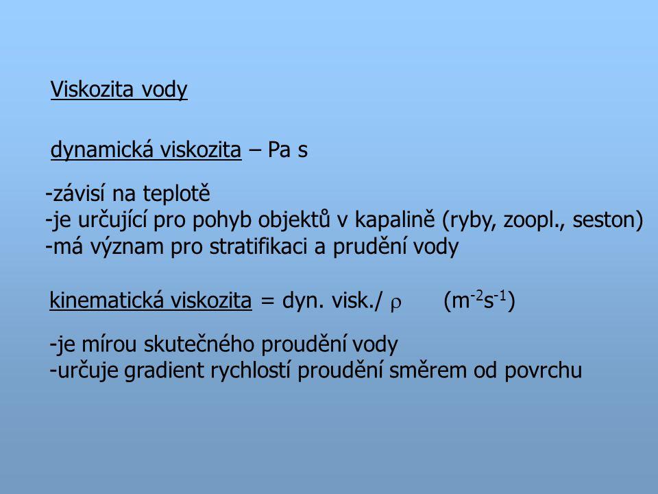 Viskozita vody dynamická viskozita – Pa s. závisí na teplotě. je určující pro pohyb objektů v kapalině (ryby, zoopl., seston)