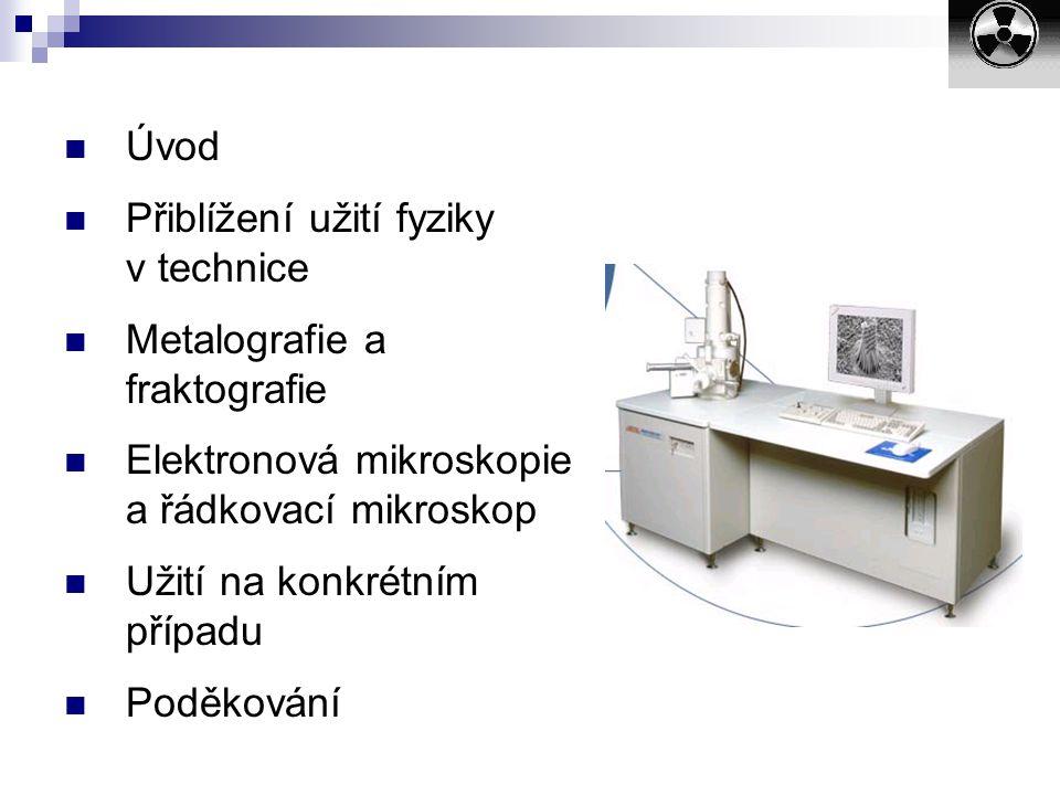 Úvod Přiblížení užití fyziky v technice. Metalografie a fraktografie. Elektronová mikroskopie a řádkovací mikroskop.