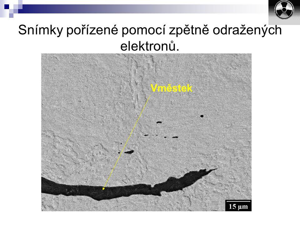 Snímky pořízené pomocí zpětně odražených elektronů.