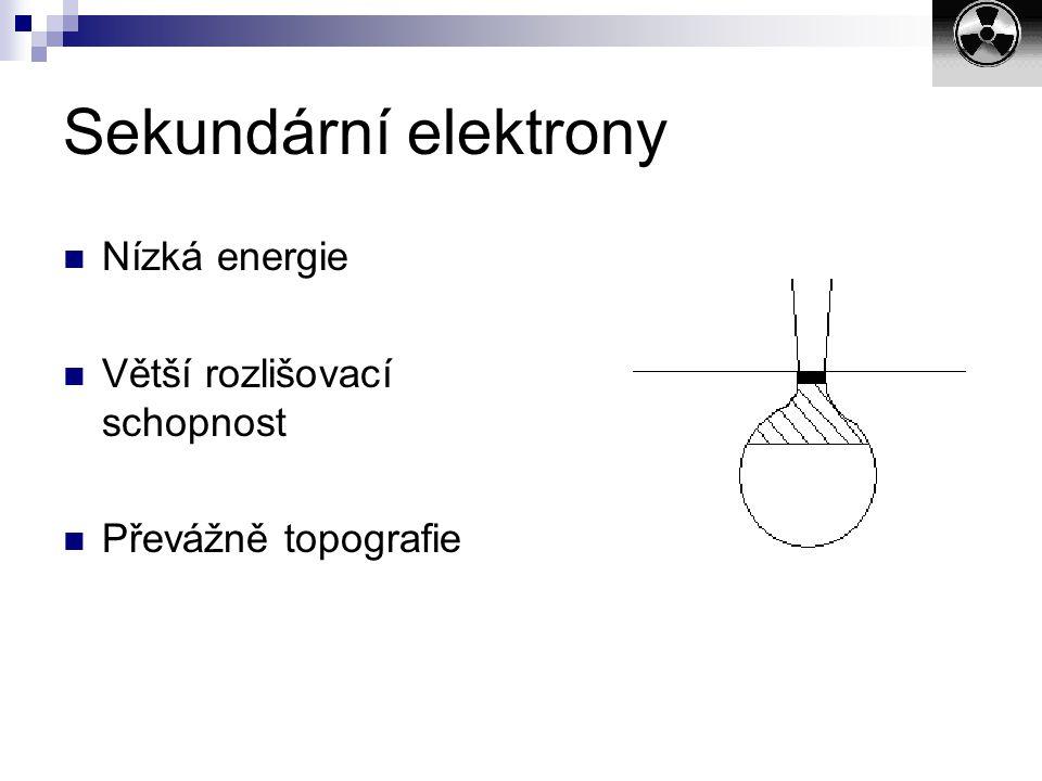 Sekundární elektrony Nízká energie Větší rozlišovací schopnost