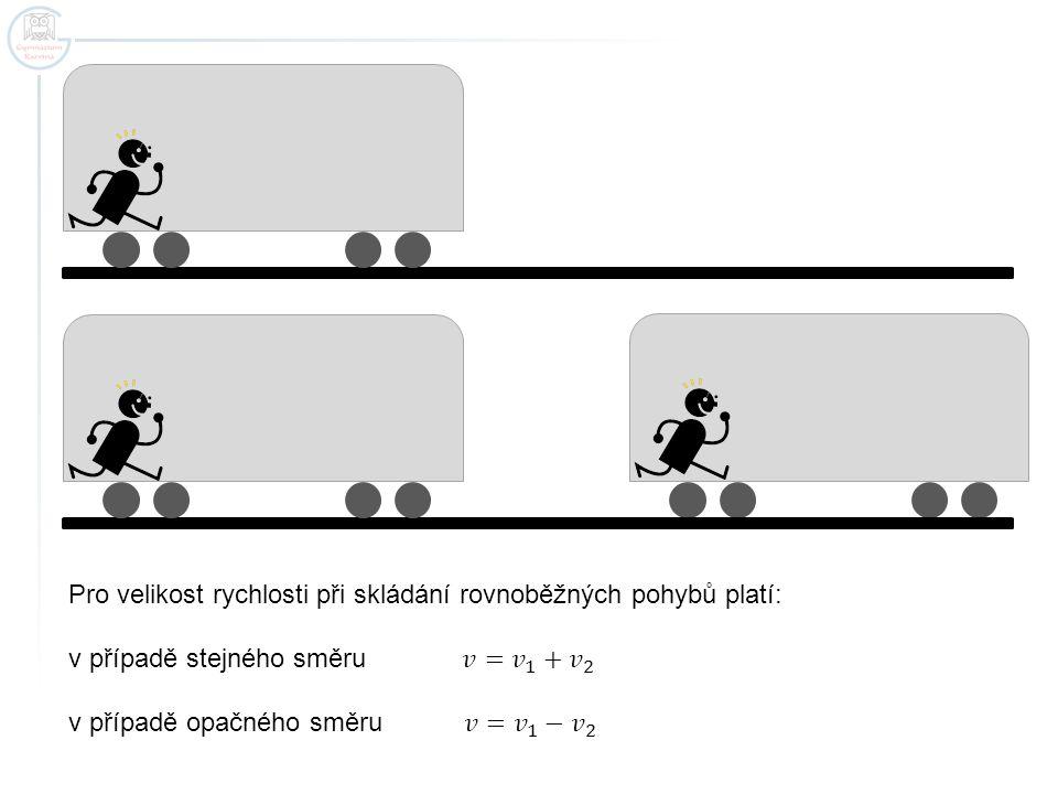 Pro velikost rychlosti při skládání rovnoběžných pohybů platí:
