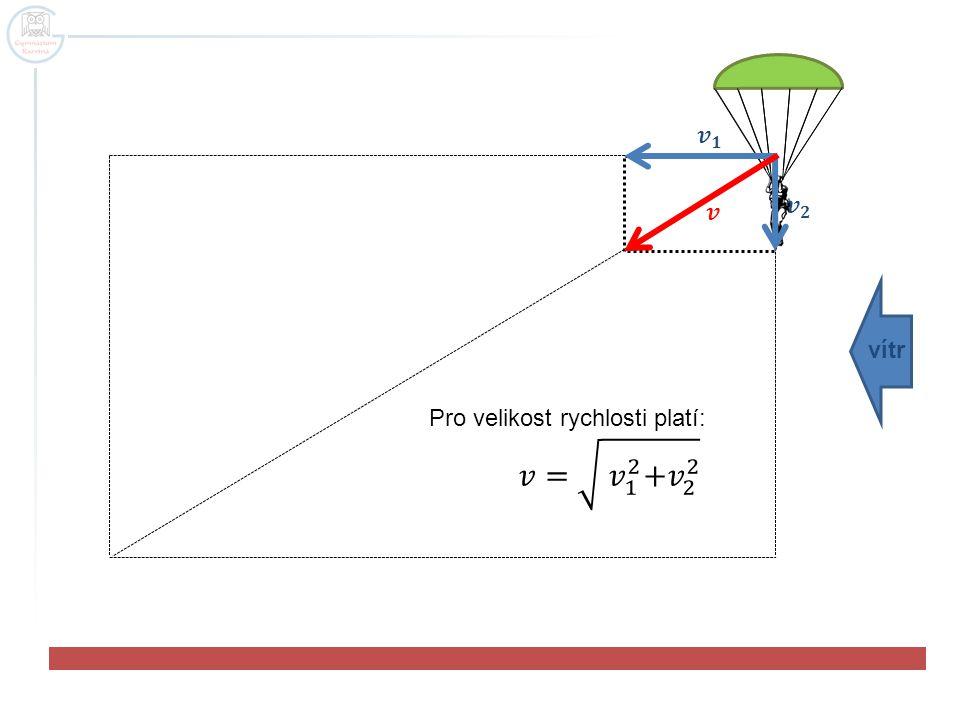𝒗 𝟏 𝒗 𝟐 𝒗 vítr Pro velikost rychlosti platí: 𝑣= 𝑣 1 2 + 𝑣 2 2