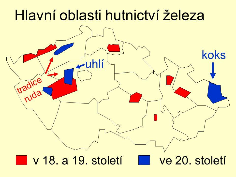Hlavní oblasti hutnictví železa