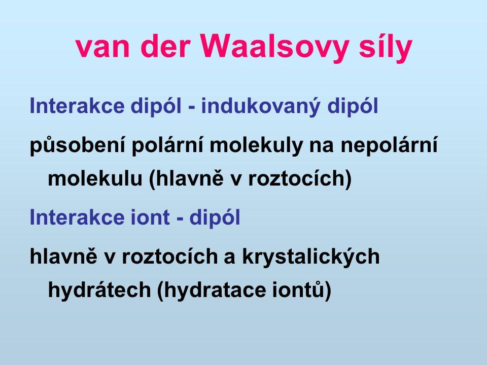 van der Waalsovy síly Interakce dipól - indukovaný dipól