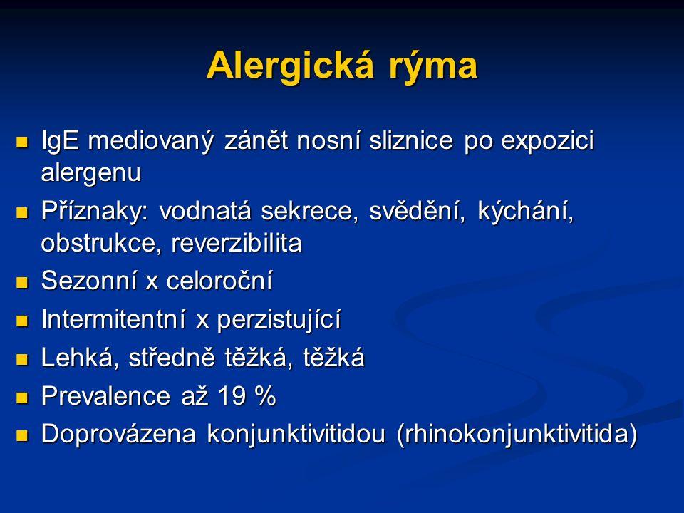 Alergická rýma IgE mediovaný zánět nosní sliznice po expozici alergenu