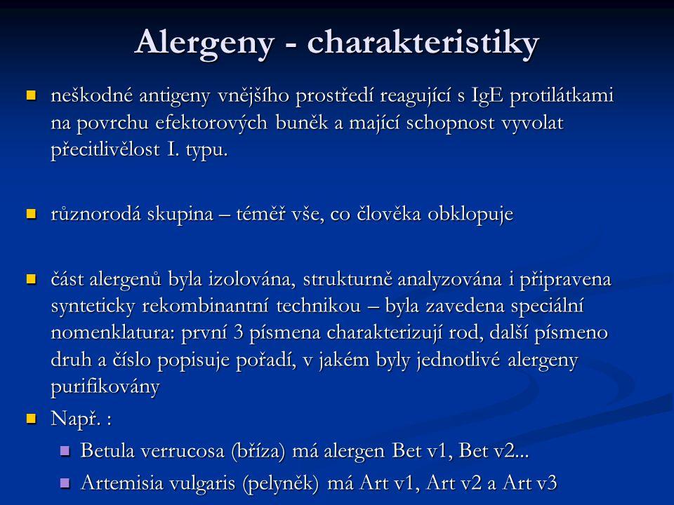 Alergeny - charakteristiky