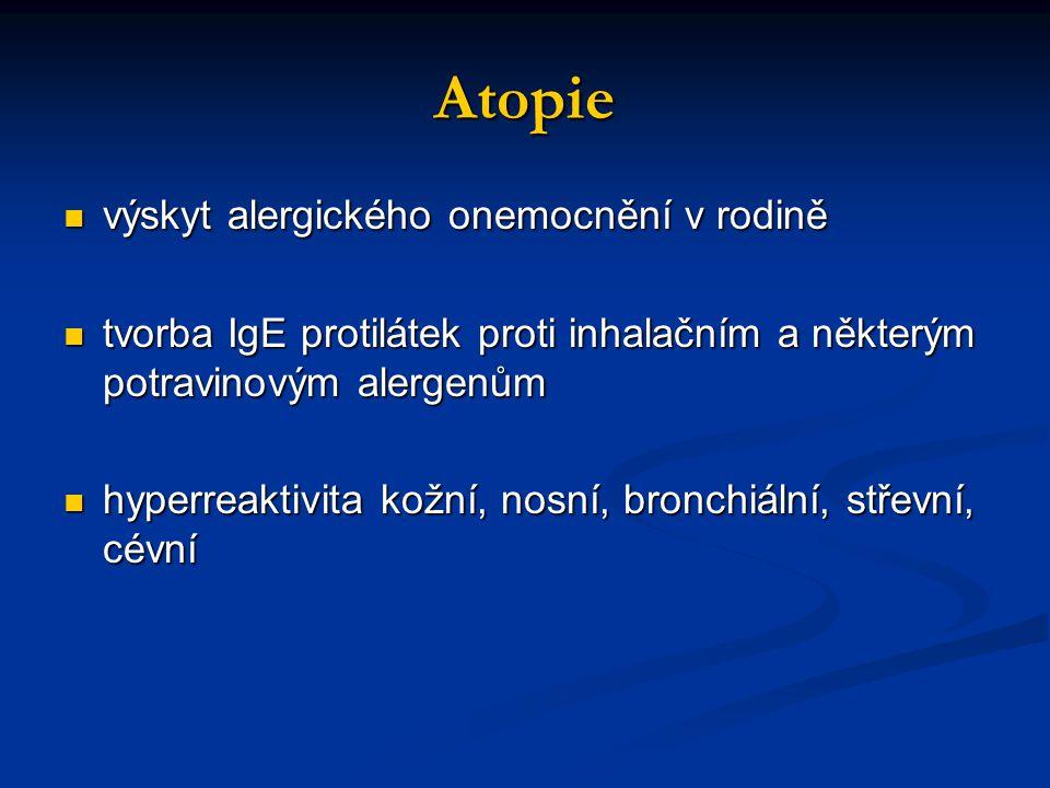 Atopie výskyt alergického onemocnění v rodině