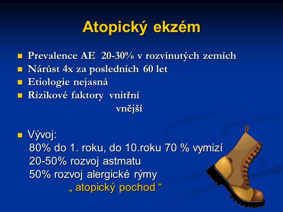 Atopický ekzém Prevalence AE 20-30% v rozvinutých zemích