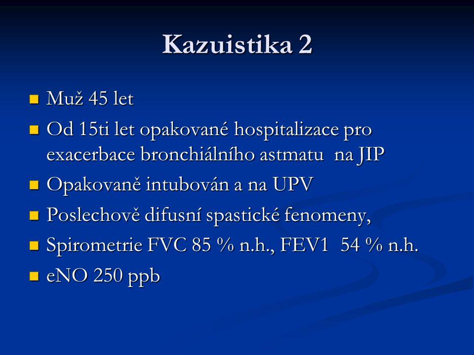 Kazuistika 2 Muž 45 let. Od 15ti let opakované hospitalizace pro exacerbace bronchiálního astmatu na JIP.