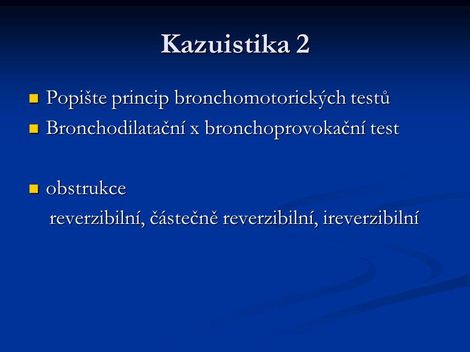 Kazuistika 2 Popište princip bronchomotorických testů