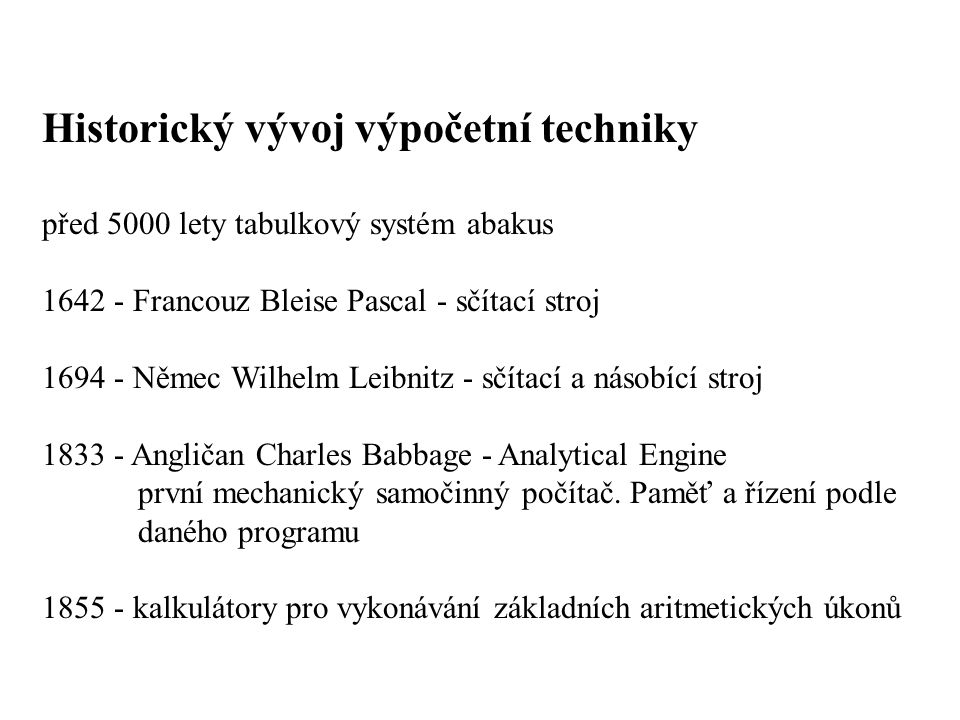 Historický vývoj výpočetní techniky