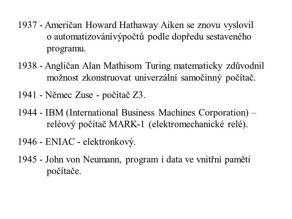 1937 - Američan Howard Hathaway Aiken se znovu vyslovil