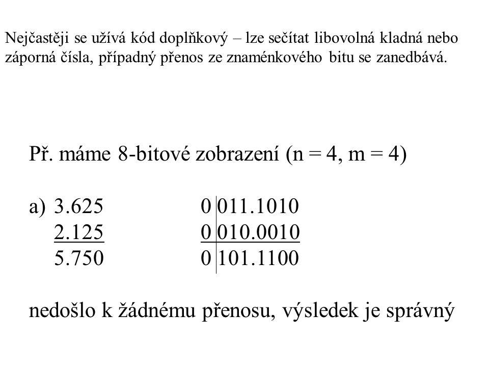 Př. máme 8-bitové zobrazení (n = 4, m = 4) a) 3.625 0 011.1010