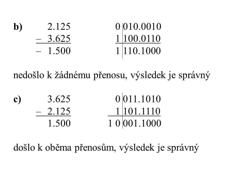 b) 2.125 0 010.0010 – 3.625 1 100.0110. – 1.500 1 110.1000. nedošlo k žádnému přenosu, výsledek je správný.