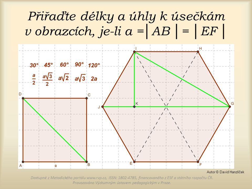 Přiřaďte délky a úhly k úsečkám v obrazcích, je-li a =│AB │= │EF │