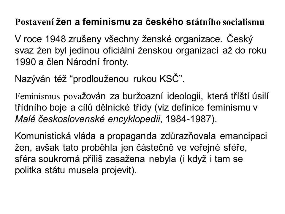 Postavení žen a feminismu za českého státního socialismu
