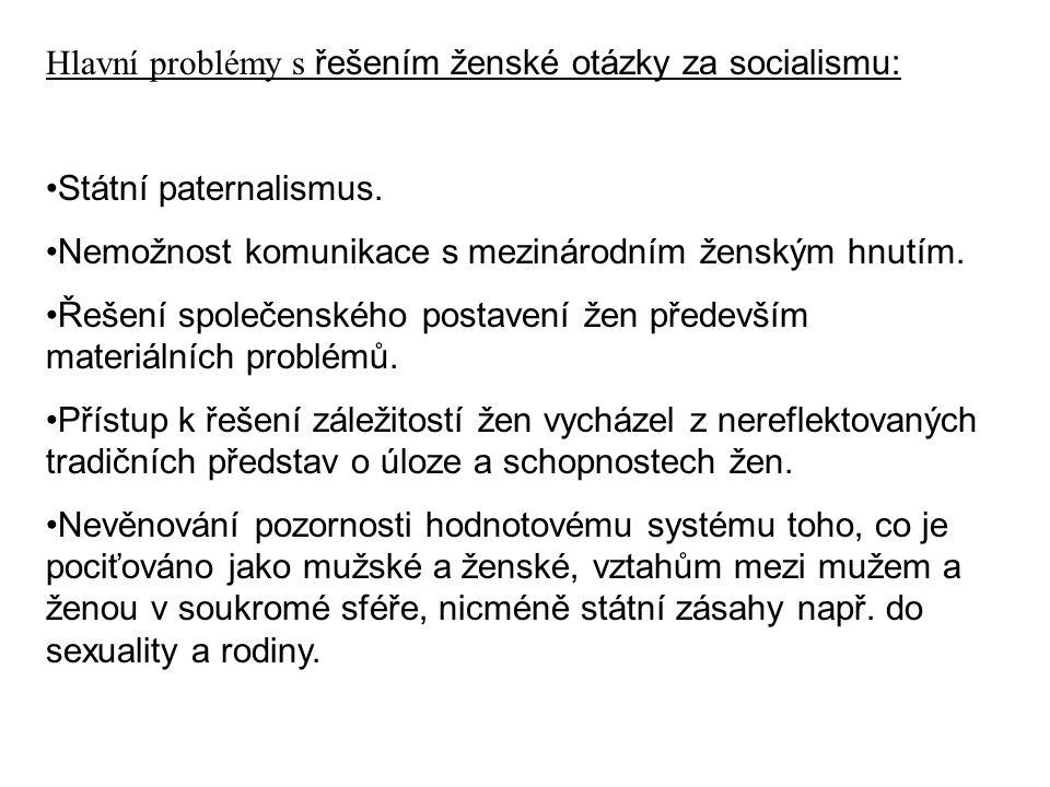 Hlavní problémy s řešením ženské otázky za socialismu: