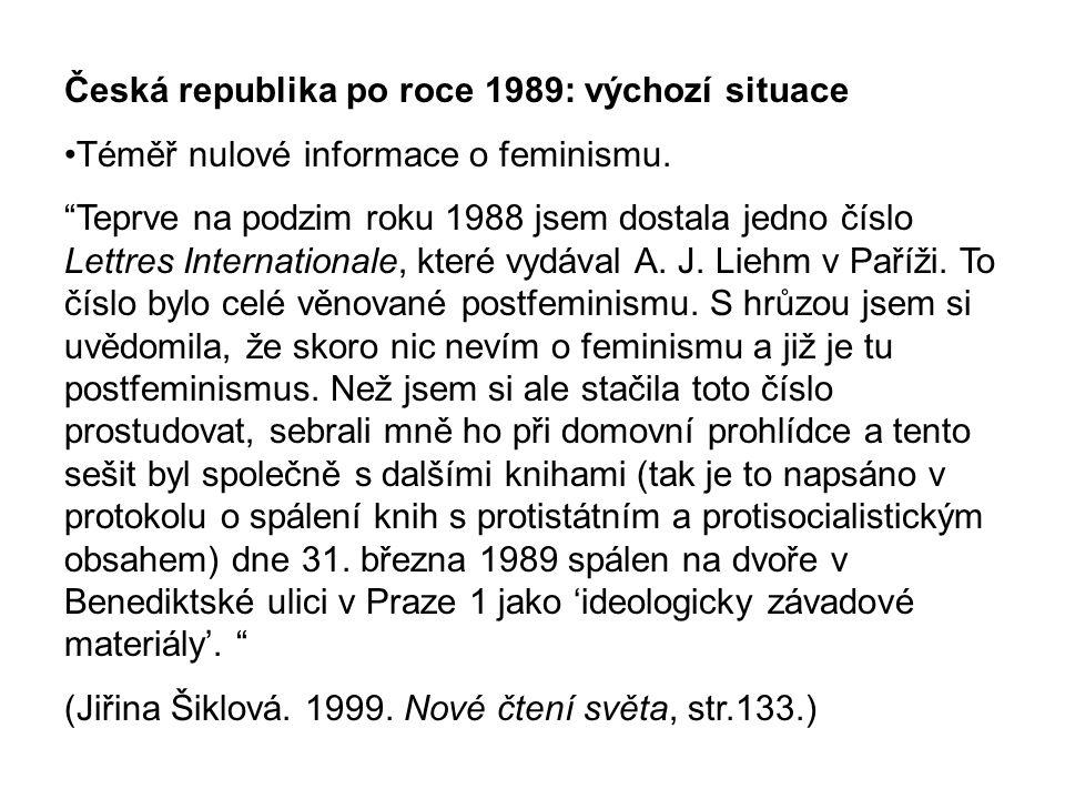 Česká republika po roce 1989: výchozí situace