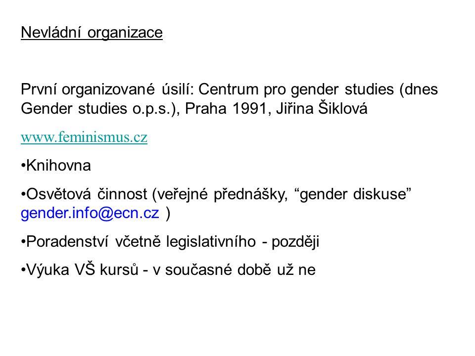 Nevládní organizace První organizované úsilí: Centrum pro gender studies (dnes Gender studies o.p.s.), Praha 1991, Jiřina Šiklová.