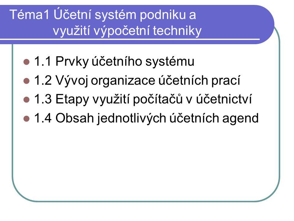 Téma1 Účetní systém podniku a využití výpočetní techniky