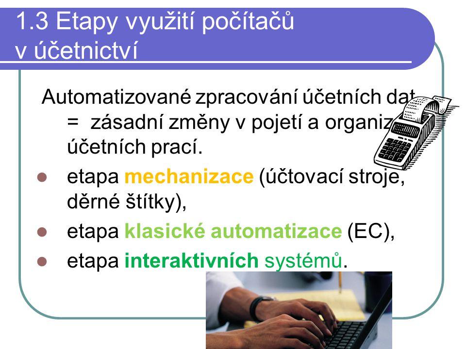 1.3 Etapy využití počítačů v účetnictví