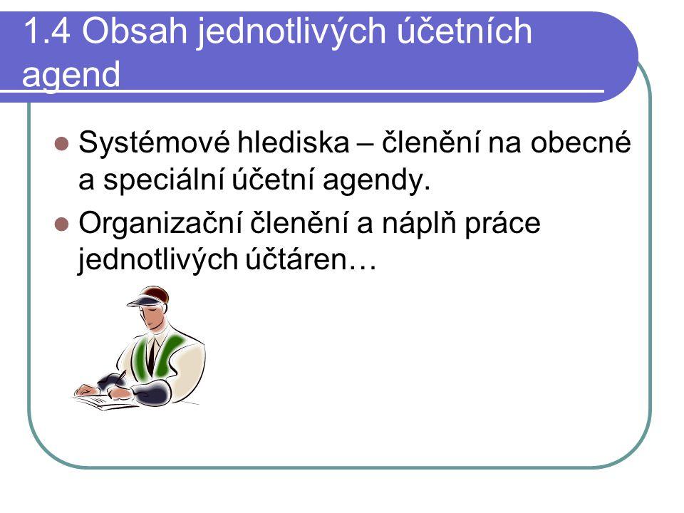 1.4 Obsah jednotlivých účetních agend