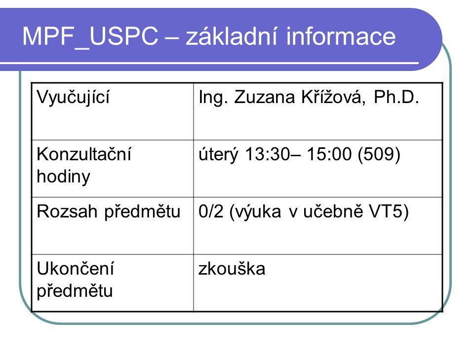 MPF_USPC – základní informace