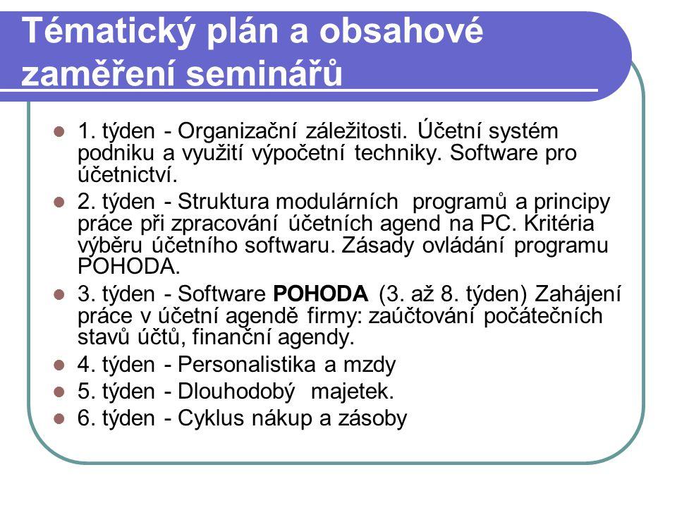 Tématický plán a obsahové zaměření seminářů