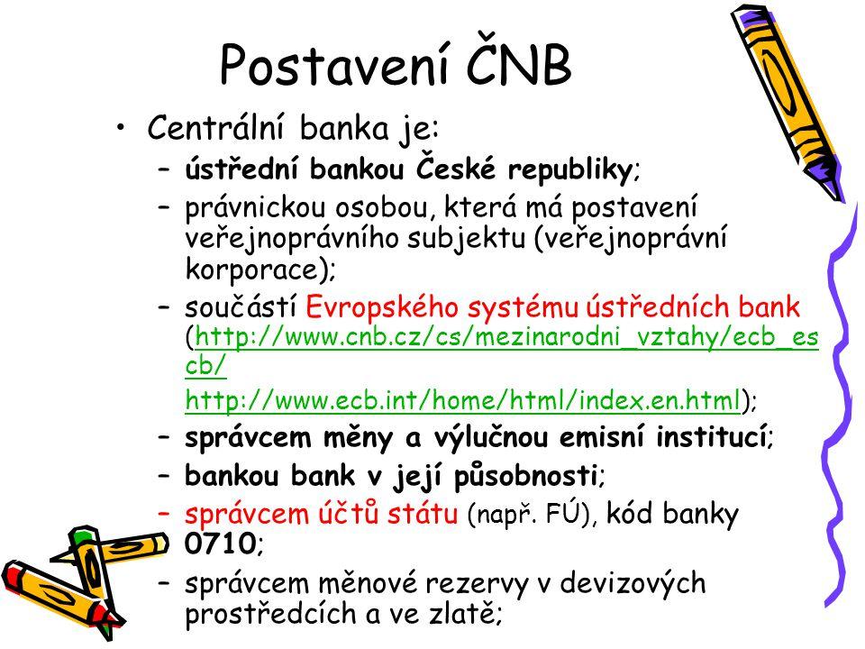 Postavení ČNB Centrální banka je: ústřední bankou České republiky;